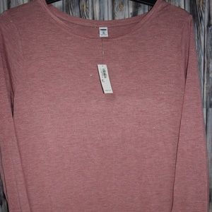 Old Navy Luxe 3x Plus Pink Shimmer L/S Shirt New